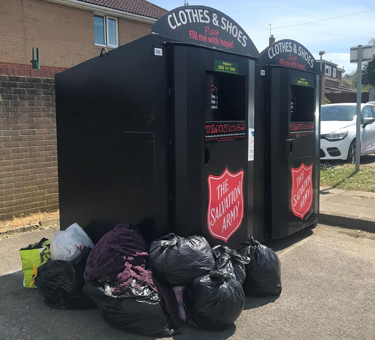 Salvation Army recycling banks