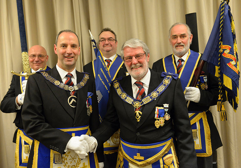 Mike Wilks (right) retires as Provincial Grand Master of the Freemasons in the Province of Hampshire and Isle of Wight, with Jon Whitaker