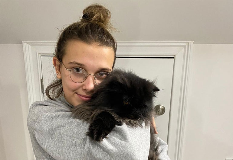 Actress Millie Bobby Brown and her cat. The young star has donated £5,000 each to Bournemouth, Salisbury and Southampton hospital charities to help support NHS frontline staff during the coronavirus pandemic