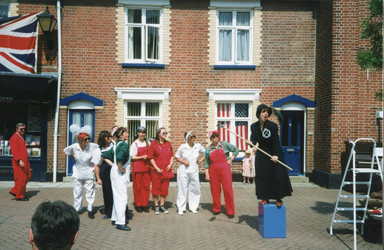 A scene from Mrs J Puts out Her Bunting in the Cornmarket in 1995