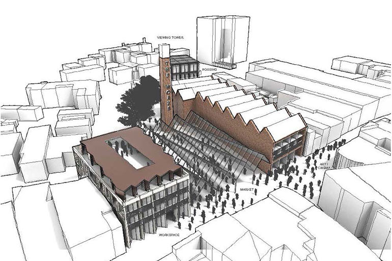 An illustration of how the possible covered market could look. Image by ECA Architecture, Planning and Regeneration