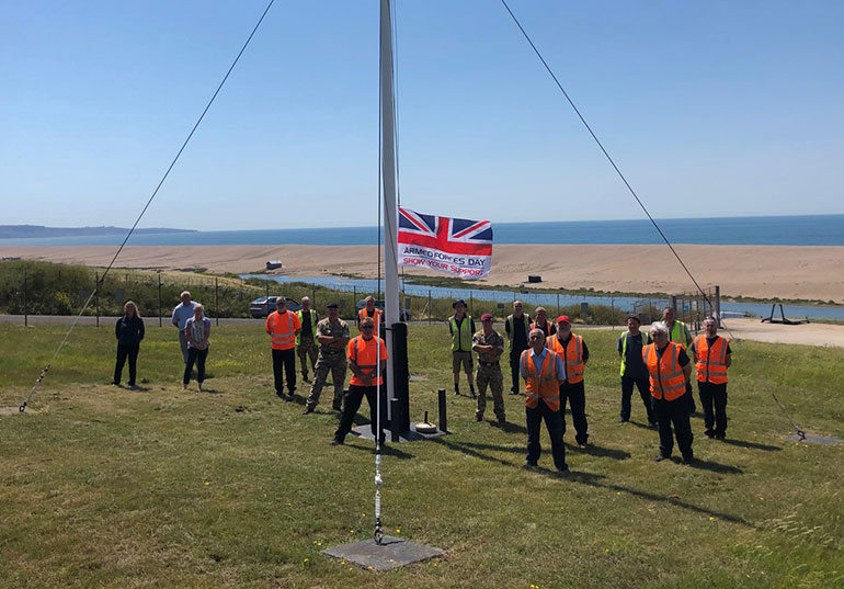 """Armed Forces Day flag raised to say """"thank you"""" at Wyke Regis Training Camp, Weymouth"""