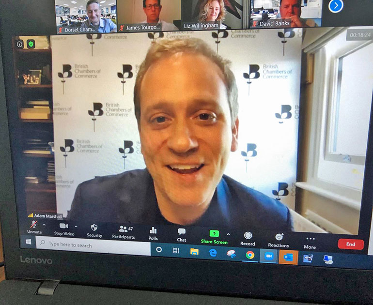 Dr Adam Marshall on a Zoom call with members of the Dorset Chamber