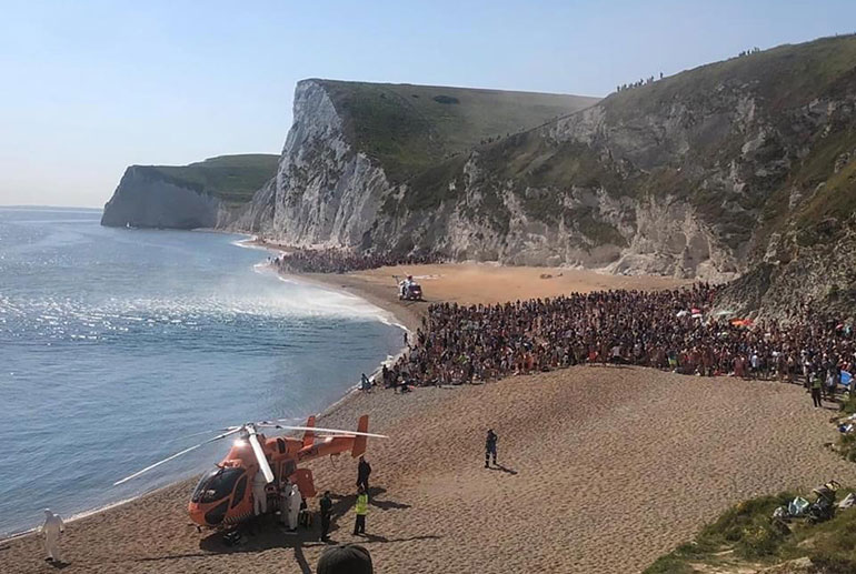 Air ambulances attend a critical incident at Durdle Door on 30 May © Dorset Police