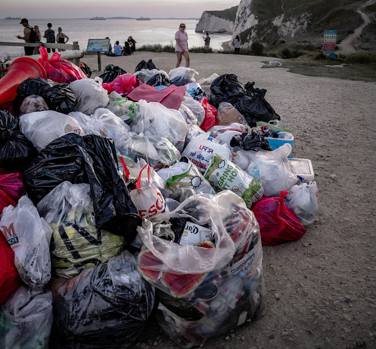 Horrendous quantity of litter collected off the beach by volunteers on 2 June ©Louis Pulford 2020