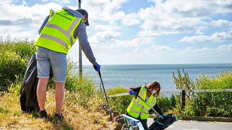 Beach litter pick extends to access paths leading to the sea