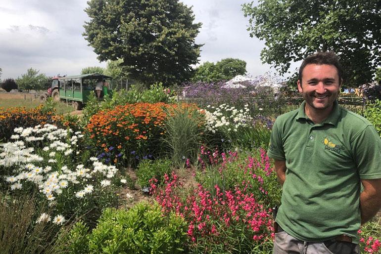 Dan Smith in the garden