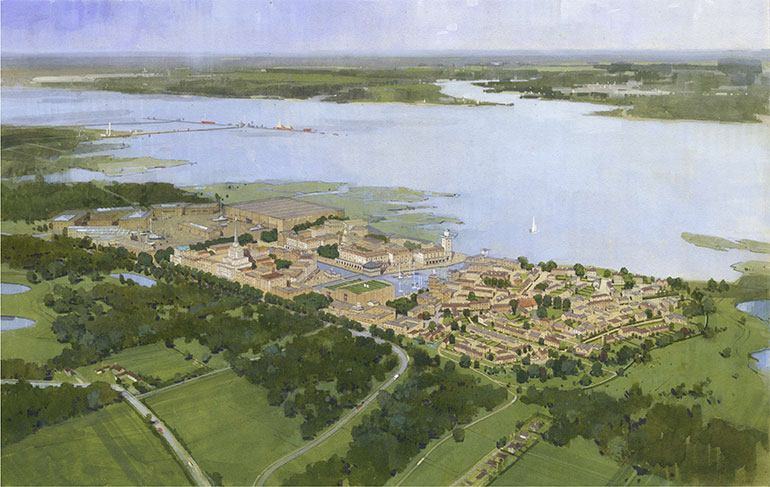 Fawley Waterside - Artist impression of the proposed development (by Chris Draper)