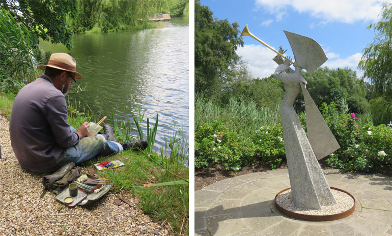 Left: Stephen Bithell, landscape painter at work Right: Exultate Jubilate, Philip Jackson