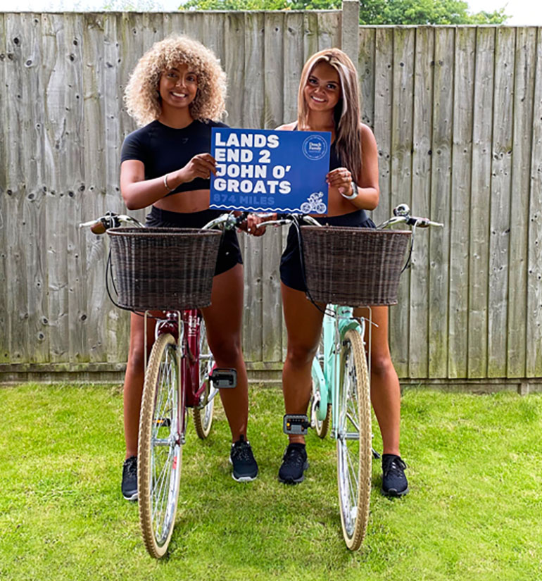 Lakeisha and Tamika are ready to pedal as Douch Family Funeral Directors set off on their trek to raise funds for Tyler's Friends