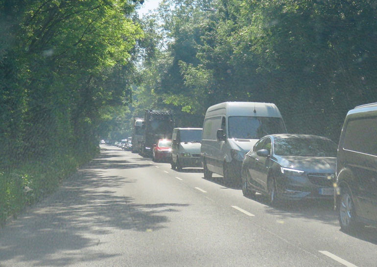 Queues for Longham HRC in May caused traffic chaos