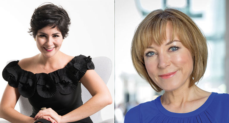 Sylvia Ramirez, happiness ambassador in Columbia and Sian Williams, BBC presenter and journalist