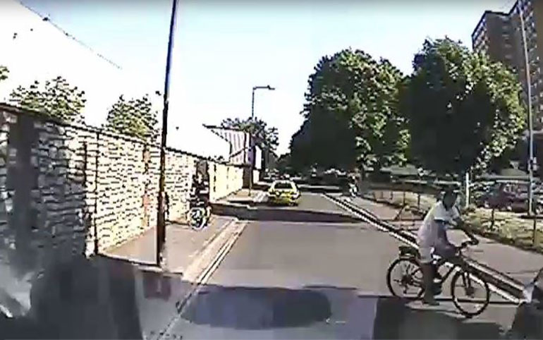 Screen grab of the cyclist after the incident