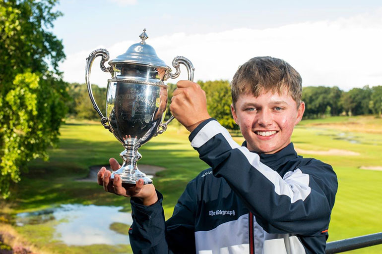 Henry Hayward claims the Carris Trophy at weather-hit Broadstone Golf Course