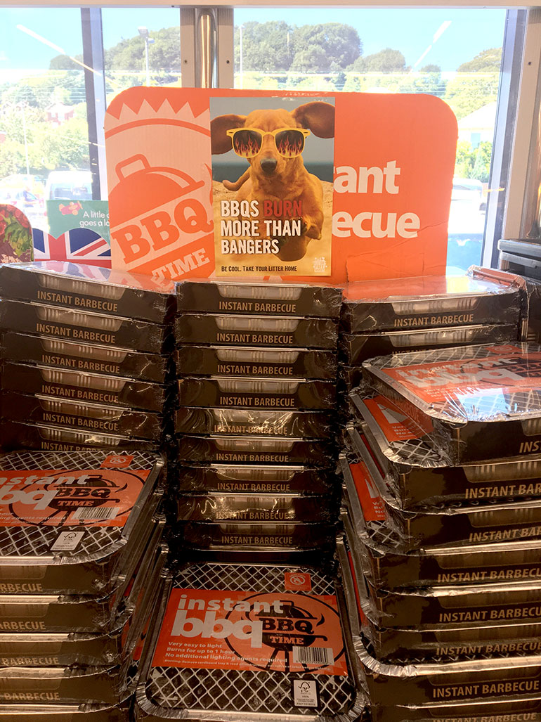 Litter Free Dorset urges businesses selling disposable BBQs to print off and display a 'BBQs Burn More Than Bangers' campaign poster