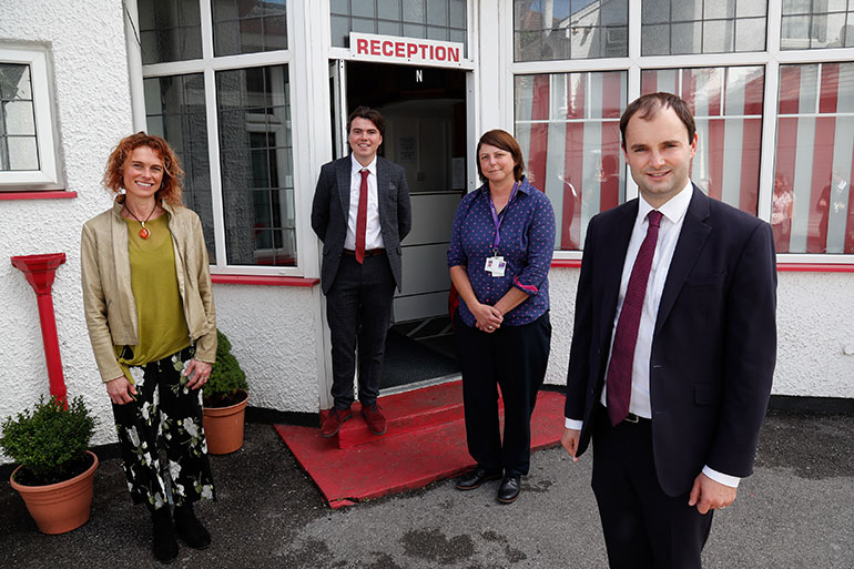 L-R GP Maggie Kirk, Cllr Kieron Wilson, BCP Council housing operations manager Becki Parsons and Minister Luke Hall