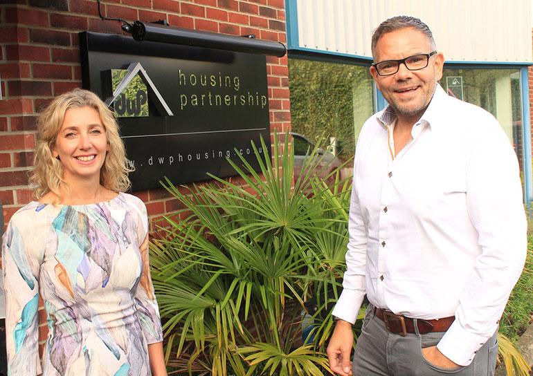 Caroline Pope from Home Start South East Dorset and Steve Wells of DWP Housing Partnership