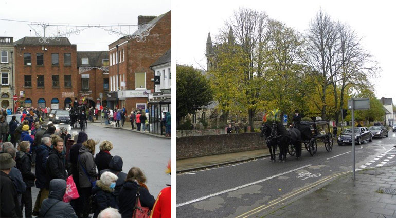 Left: A town pays its last respects to Ian Willis. Right: Stopping outside the site of the house where Ian was born (now the Minster's car park). Photos: © Anthony Oliver