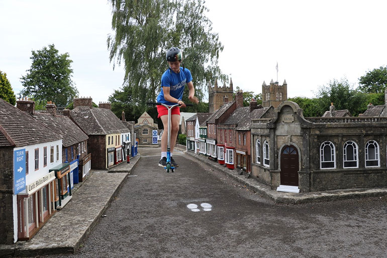 Wheel enthusiasts feel like giants as they leap around the model town of Wimborne 'out of hours'