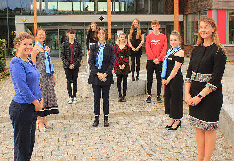 Sophie Dean (front left) the Head of Sixth Form at QE School and Katie Boyes (front right) Hedteacher of QE School, with some sixth form students who are applying to Oxbridge