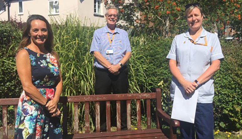 L-R Sally Hill, Brad Rootes - locality manager for Purbeck with Julie Hawkins, a member of the District Nursing Team