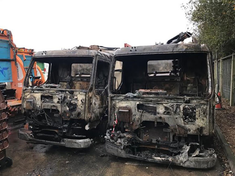 Two of the destroyed vehicles