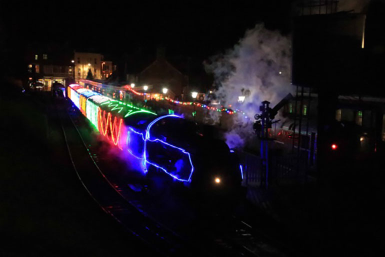 Steam-and-lights-train-Swanage-December-2020