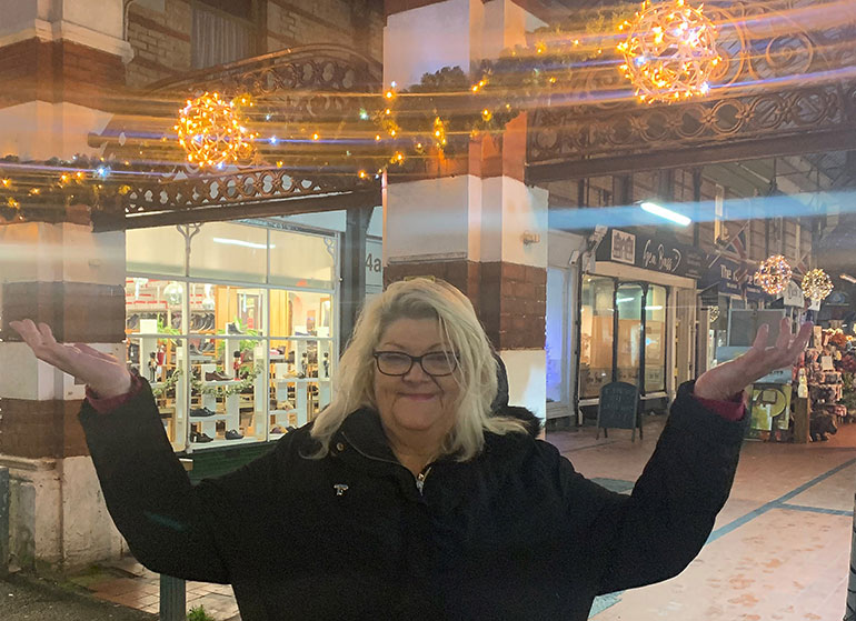 Dawn McLachlan with lights in Westbourne that the Coastal BID has funded