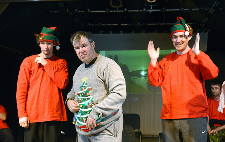 A Christmas performance by people with learning disabilities from the Hanger Farm Community Theatre in December 2019