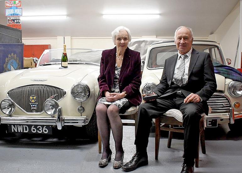 Peter and Betty-Ann Banham receiving the 2020 Royal Automobile Club Lifetime Achievement award