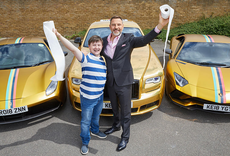Matthew Gordon, actor, and author David Walliams. Picture by Mark Douet