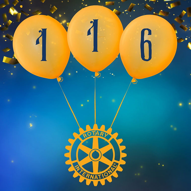 116 years of Rotary. Poole Bay Rotary Club celebrated Rotary Day on 23 February