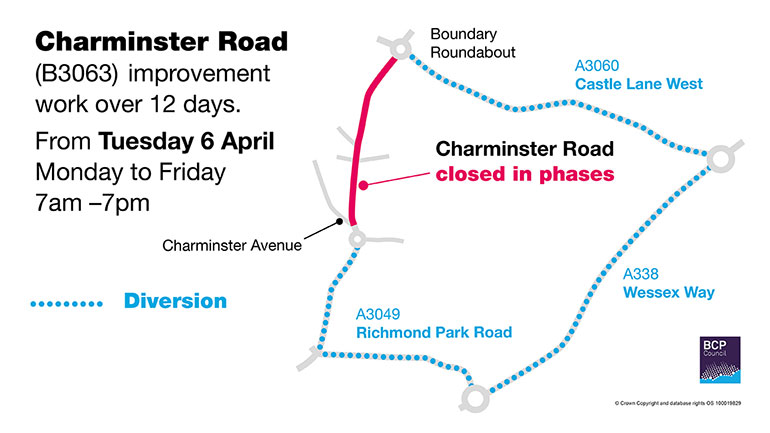 Charminster-Road-diversion-map