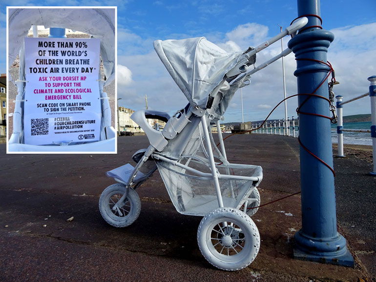 XR raises awareness about the CEE Bill by installing 'ghost buggy' on Weymouth Esplanade
