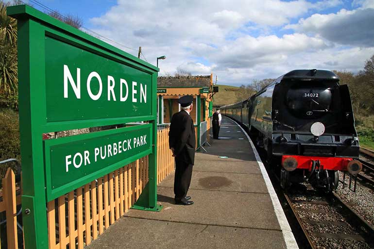 A train arrives at Norden station. Photo by Andrew Wright