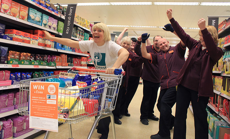 Kirsty Perks with staff from Sainsbury's Pitwines