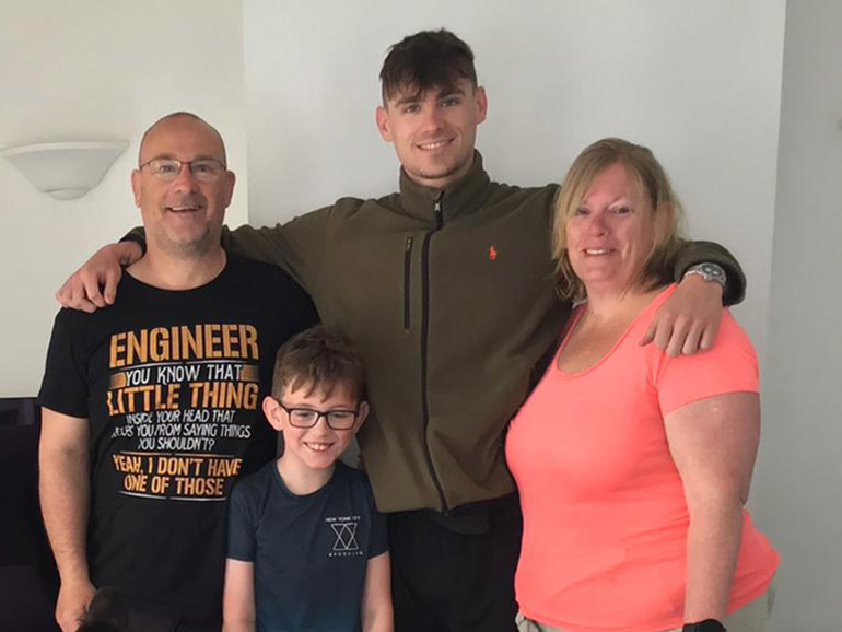 Jacob with his Mum and Dad, Martin and Rachael and brother David