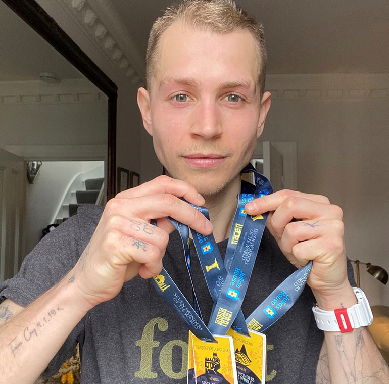 James McVey with his medals
