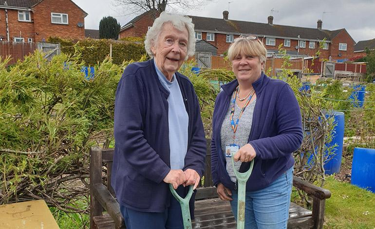 Margaret Fowler with occupational therapist Rachel Skeats at the allotment