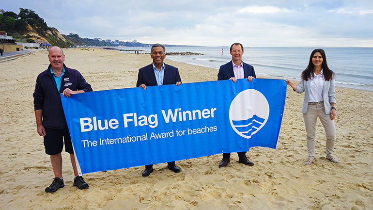 L-R: Mark Duff, senior ranger; Cllr Moyan Iyengar, portfolio holder for Tourism, Leisure and Culture; Chris Saunders, head of operations, BCP Council and Yessica Falcon, resort information supervisor