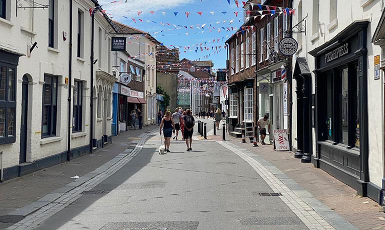 Poole High Street towards Poole Quay