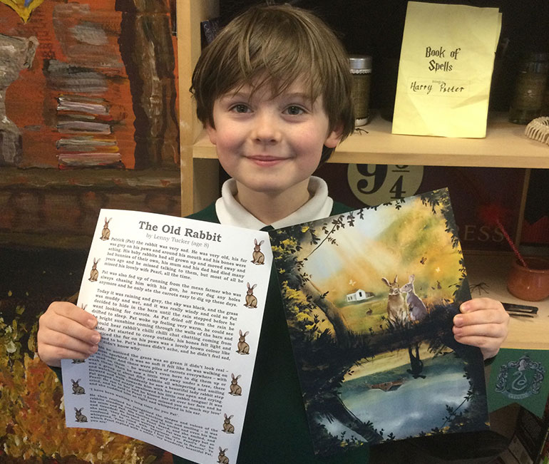 Lenny Tucker with Forest Holme's version of his award-winning The Old Rabbit story