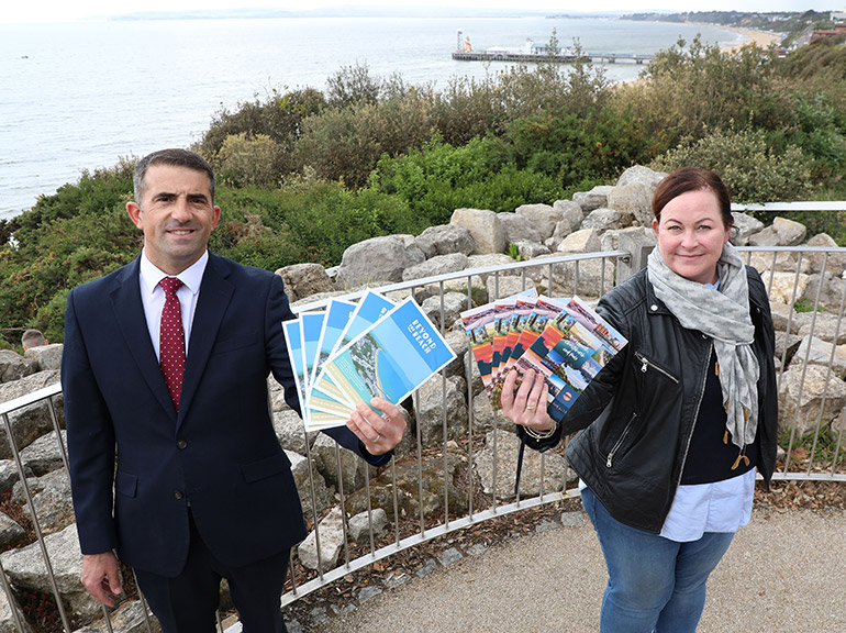 Paul Clarke, right, chairman of Bournemouth Coastal BID and Fiona McArthur, manager