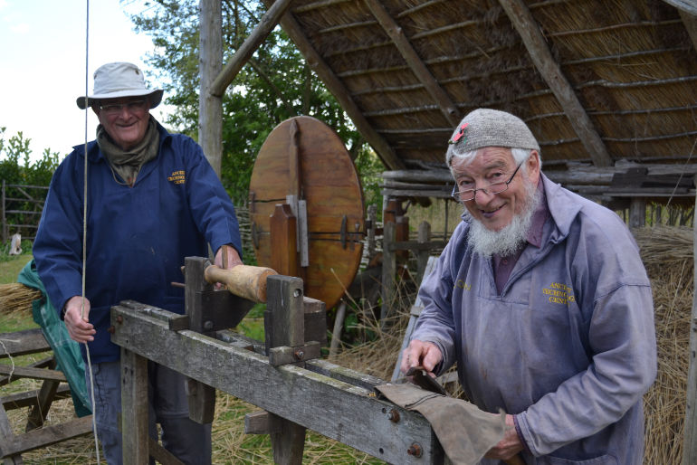 Colin Alborough and Clive Perrin - volunteers at the ATC - working the pole lat