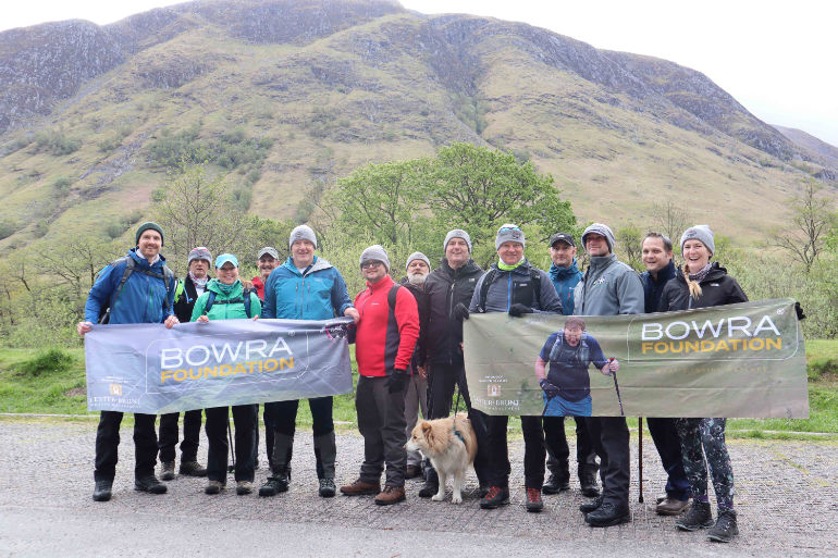 Team Bowra at the foot of Ben Nevis - Mark Bowra third from left in blue jacket
