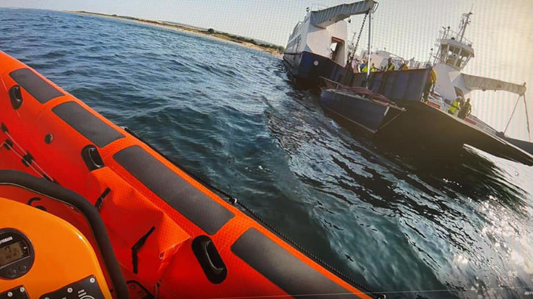 Cornish Shrimper pinned to the chain ferry that crosses from Sandbanks to Studland