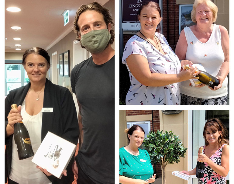 Winners of the naming competition, Daryl Michael, Elaine Nicholls and Kelly Foster, receiving their prizes