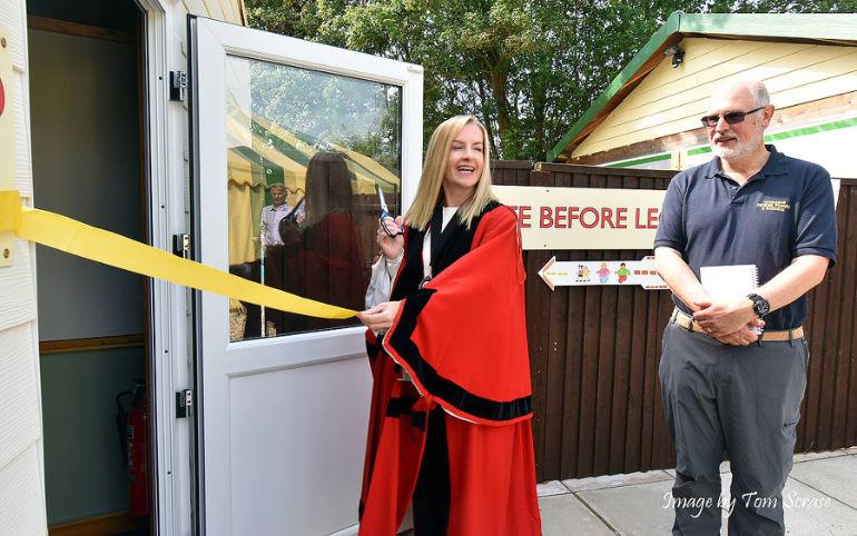 Cutting the ribbon, Wimborne Mayor Kelly Webb with chairman Iain Stevenson. Photo by Tom Scrase