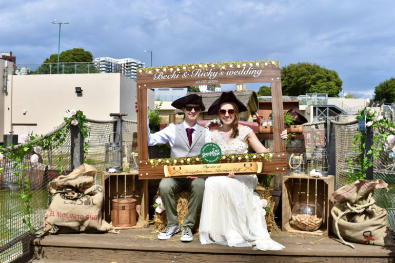 Becki and Ricky's wedding day at Smugglers Cove Adventure Golf