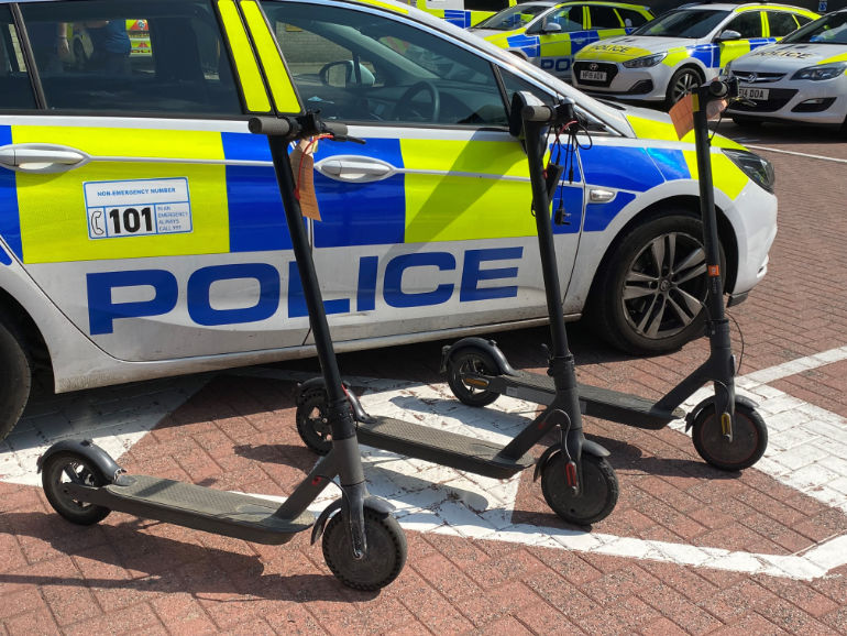 Illegally used e-scooters seized by Dorset Police during Operation Relentless